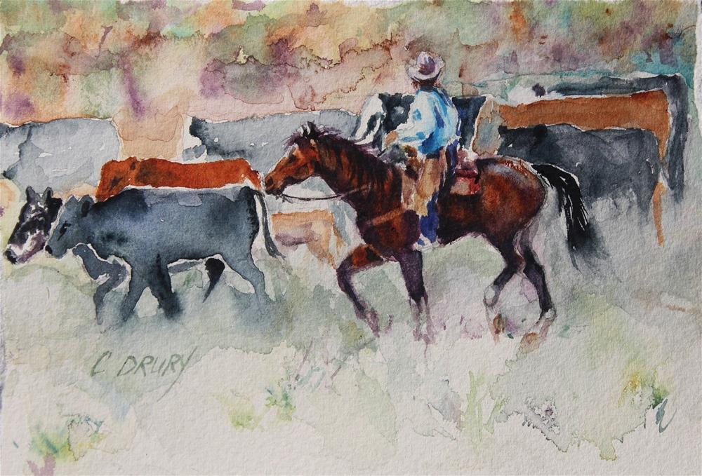 """Ridin' Herd"" original fine art by Colleen Drury"