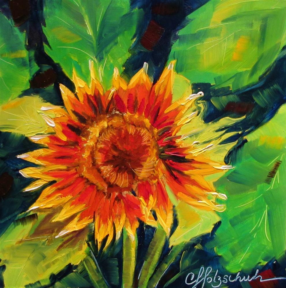 """Sunshine!   7x7  oil"" original fine art by Christine Holzschuh"