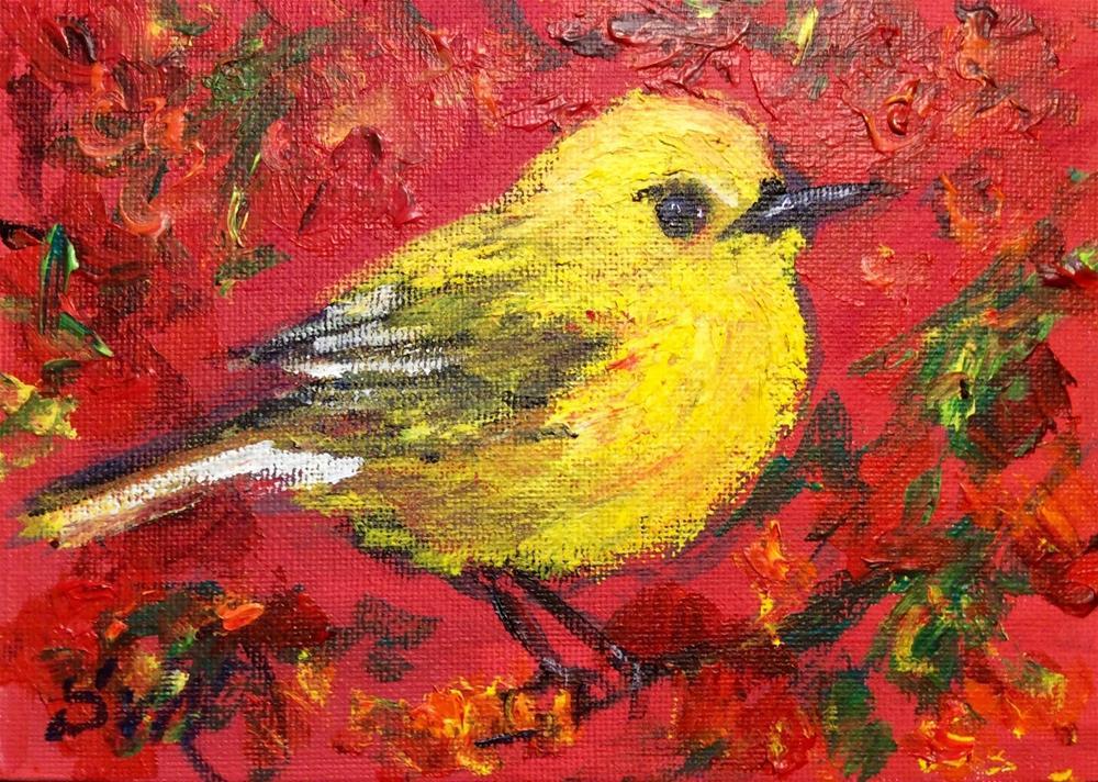"""""""Yellow bird"""" original fine art by Sonia von Walter"""