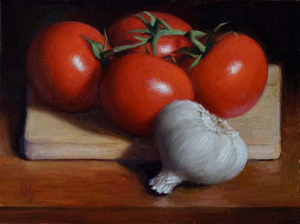 """""""Tomato and Garlic"""" original fine art by Debra Becks Cooper"""