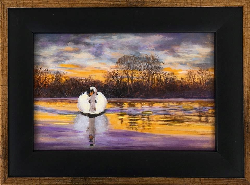 """""""Golden Glide, Framed"""" original fine art by Elizabeth Elgin"""