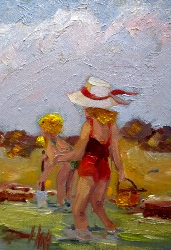 """Play at the Beach"" original fine art by Delilah Smith"