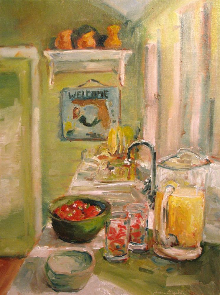 """The Mermaid in the Kitchen"" original fine art by Susan Elizabeth Jones"