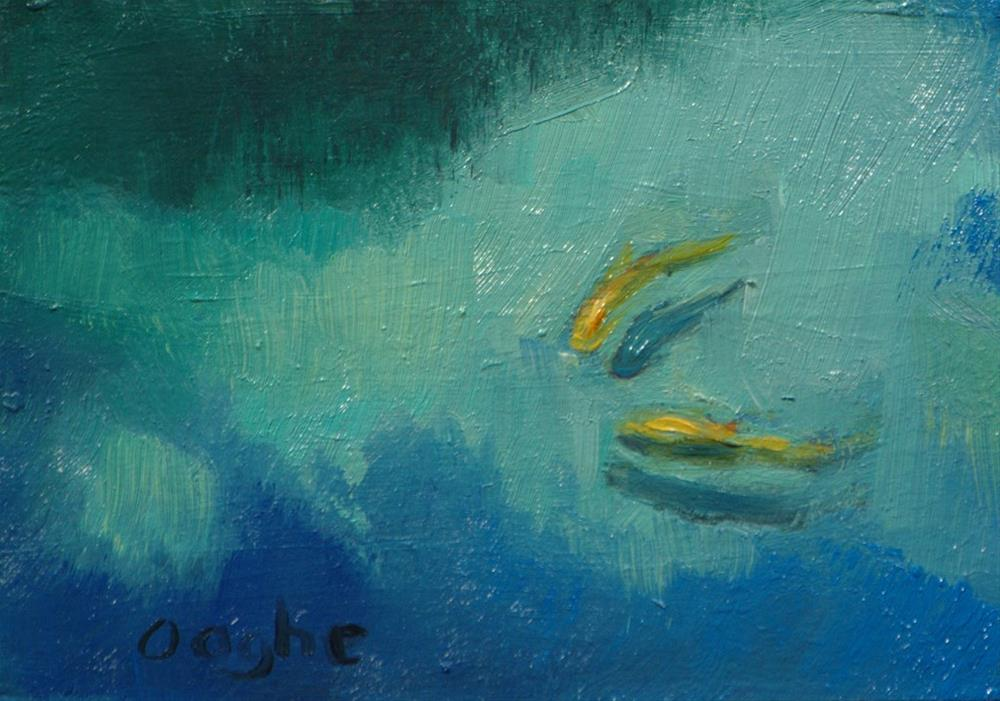 """""""ACEO Two Koi"""" original fine art by Angela Ooghe"""