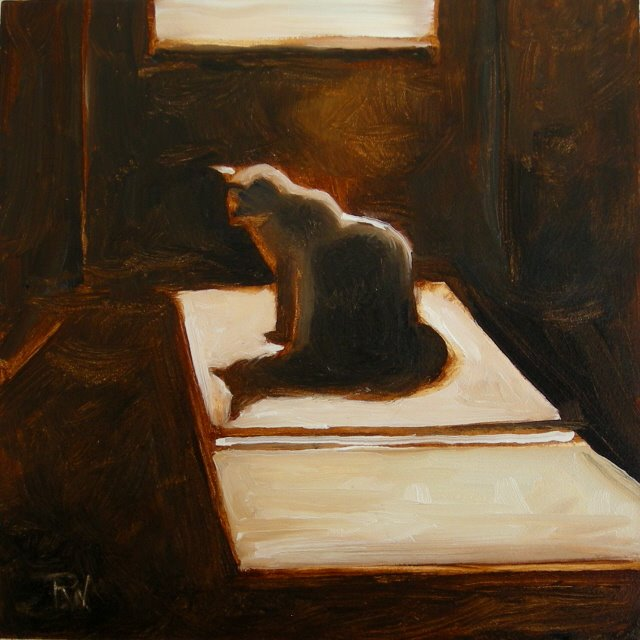 """""""Rosie in the Kitchen   oil painting on panel"""" original fine art by Robin Weiss"""