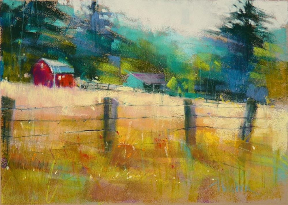 """Red Barn II"" original fine art by Barbara Benedetti Newton"