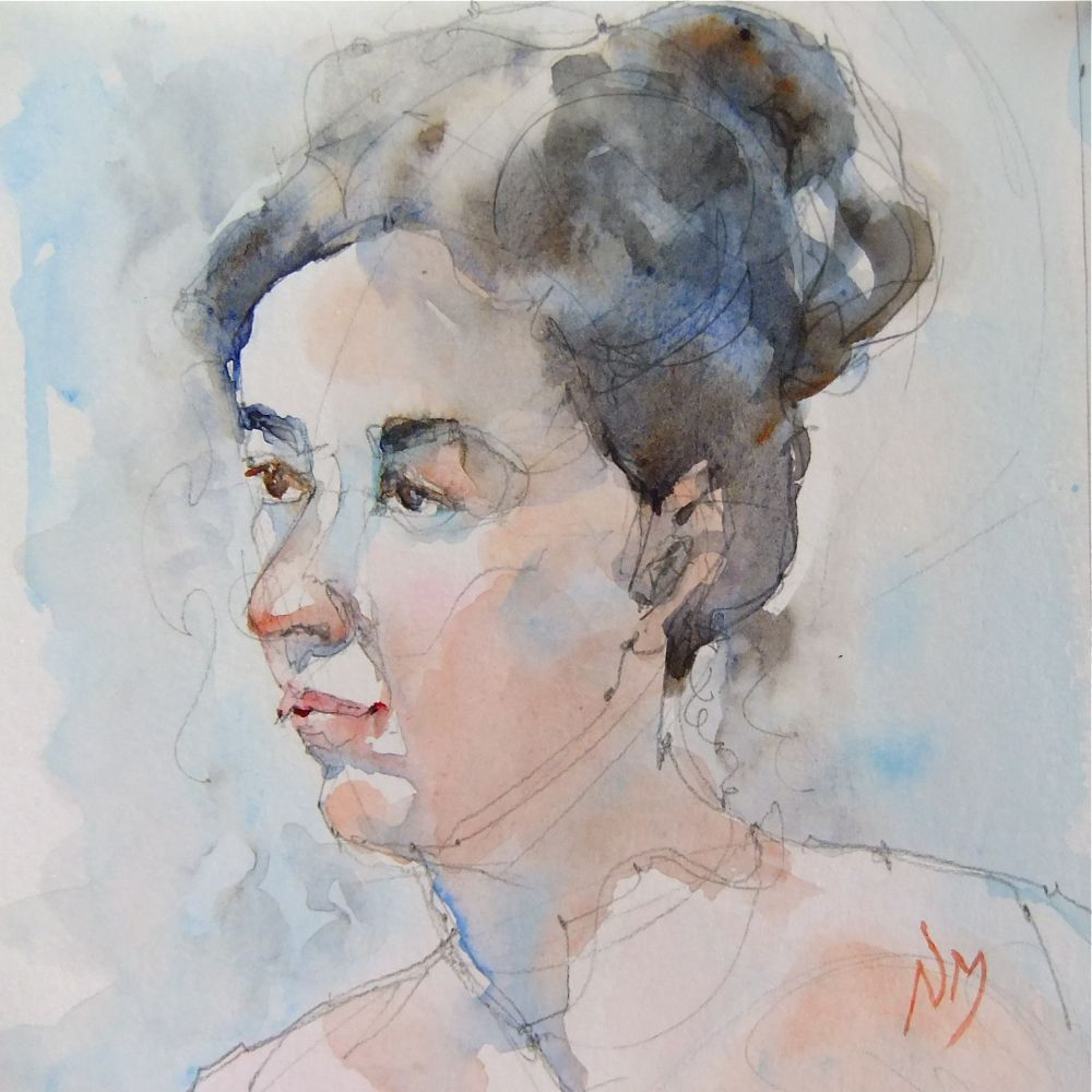 """portrait day at the studio - two"" original fine art by Nora MacPhail"
