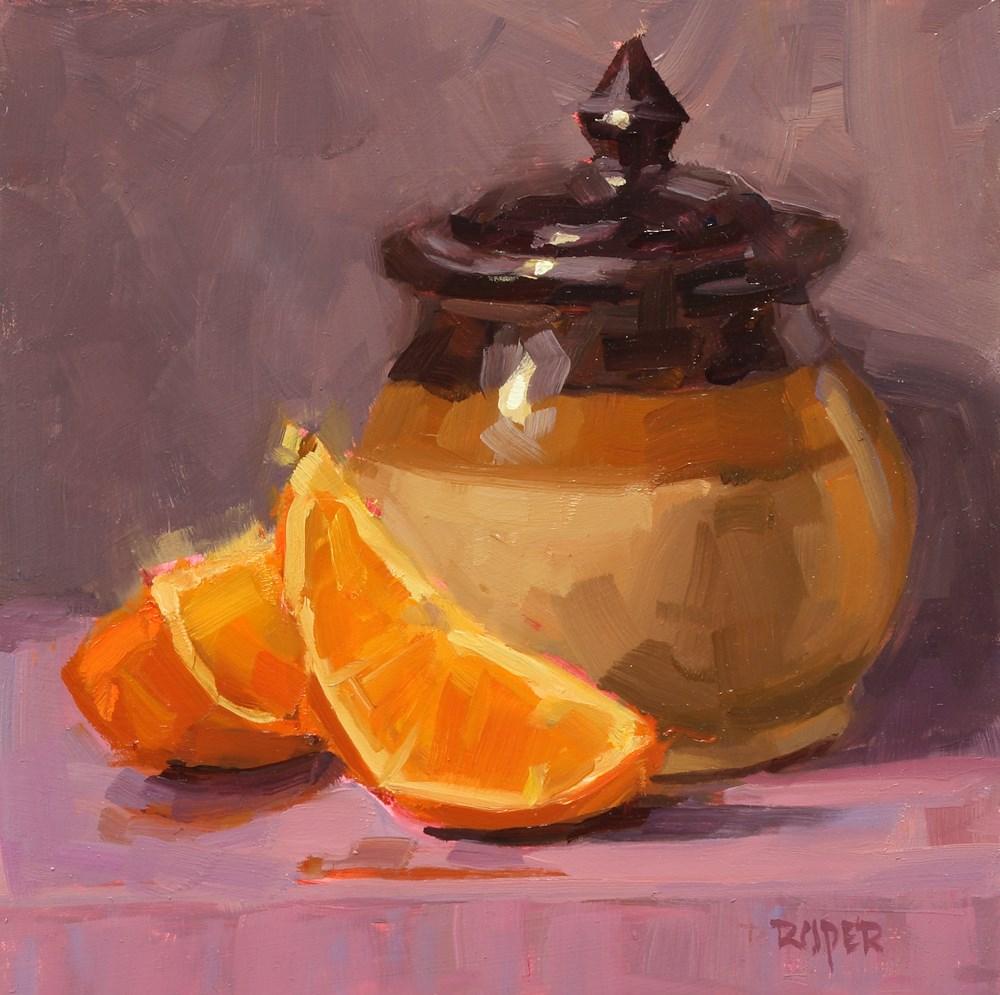 """""""Little Pot with Slices  """" original fine art by Stuart Roper"""