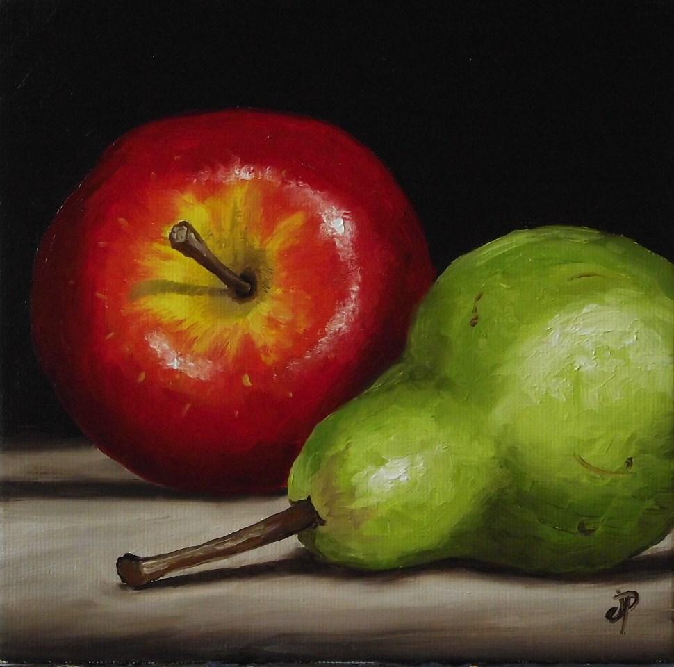 """Apple and Pear"" original fine art by Jane Palmer"