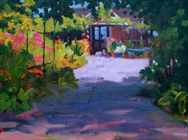 """Claudia's Flower Jungle  plein air landscape painting, Bainbridge Island, Washington"" original fine art by Robin Weiss"