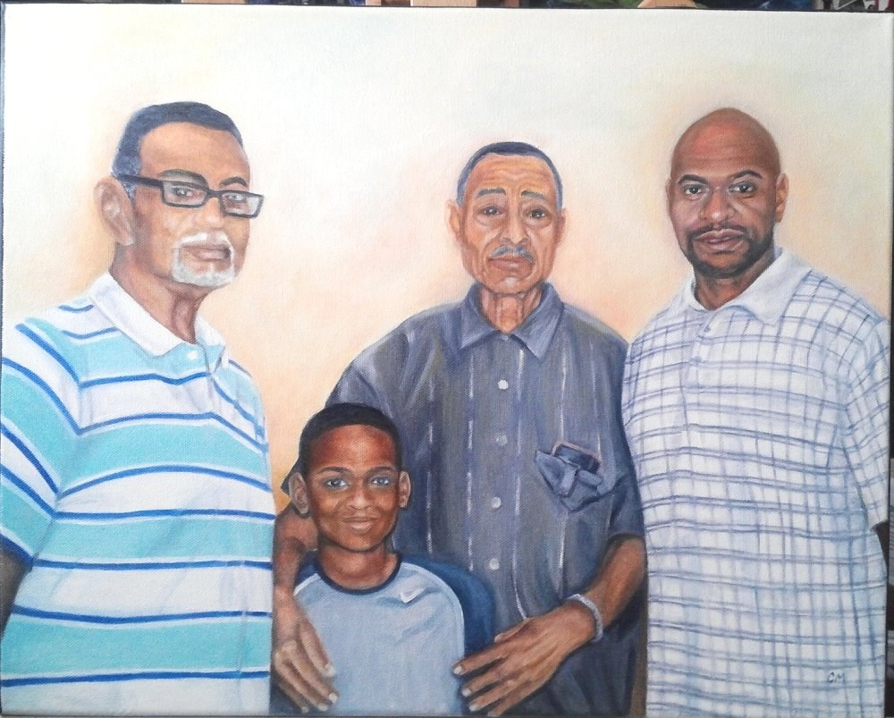 """4 Generations - Custom Portrait"" original fine art by Camille Morgan"