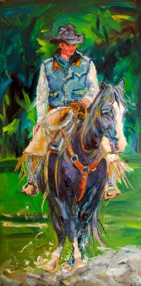 """COWBOY WALKING by Diane Whitehead Western Art oil painting"" original fine art by Diane Whitehead"