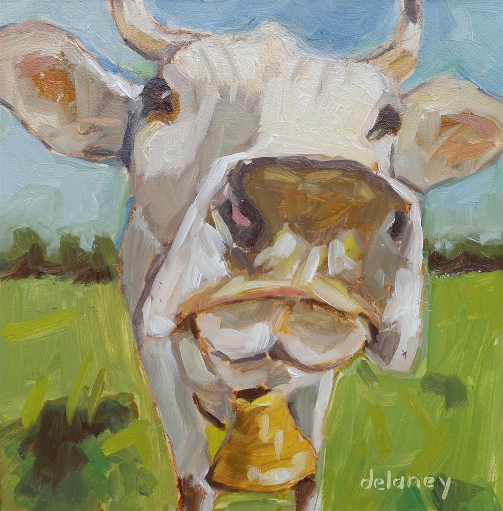 """Cow 76 THE BELL BOY"" original fine art by Jean Delaney"