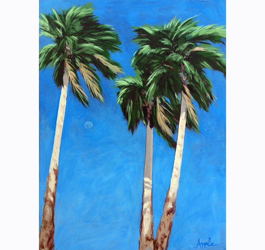 """Daytime Moon in Palm Springs - Desert Palm Trees"" original fine art by Linda Apple"