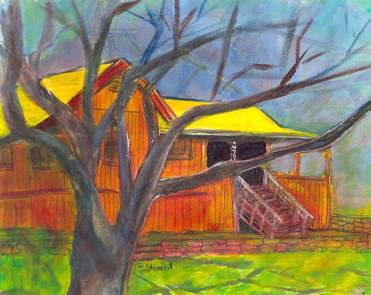 """8x10 Landscape House Tree Shadows Sky Acrylic on Heavy Paper"" original fine art by Penny Lee StewArt"