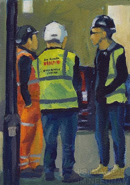 """Hi Viz- Street Corner Gathering"" original fine art by J M Needham"