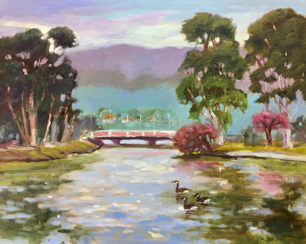 """El Estero Park Lake"" original fine art by Rhett Regina Owings"