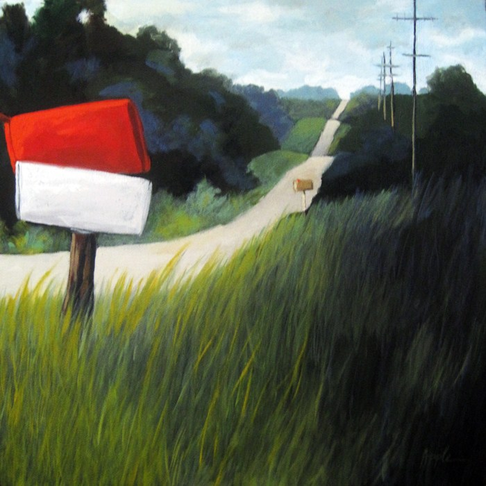 """RURAL MAIL boxes Large landscape pleinair oil painting"" original fine art by Linda Apple"