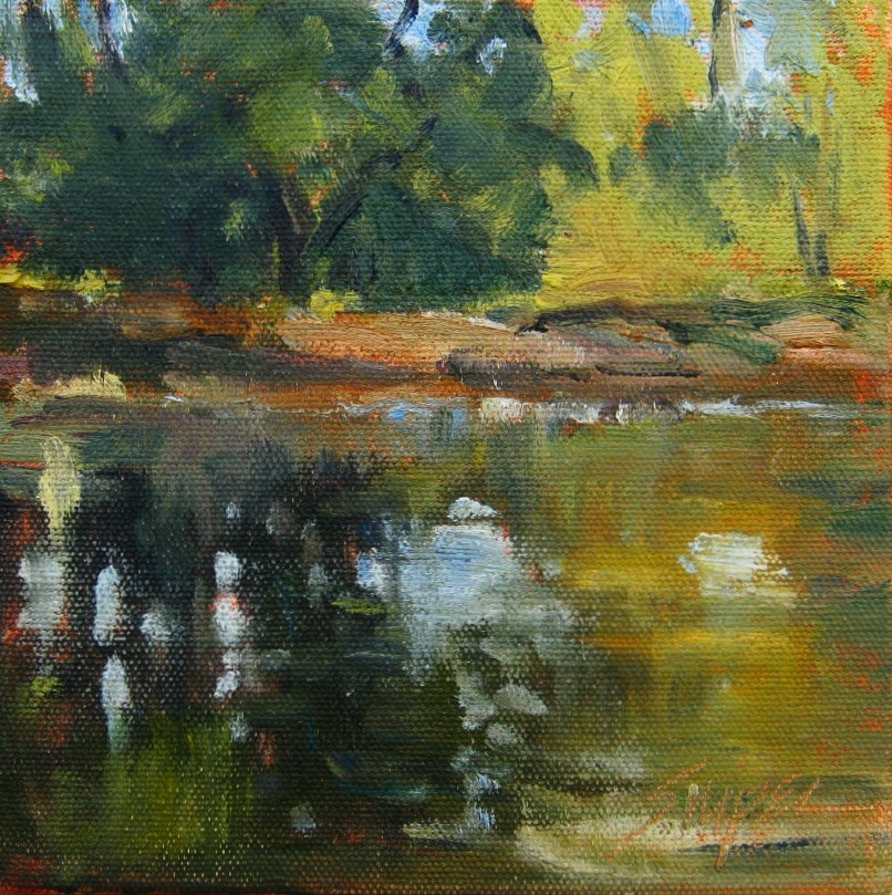 """""""Small Pond, Fairview, NC"""" original fine art by Connie Snipes"""