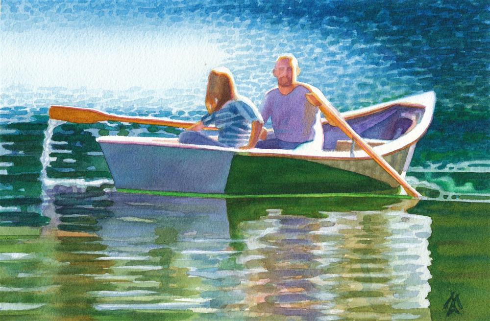 """Rowing on Clearlake"" original fine art by Mark Allison"