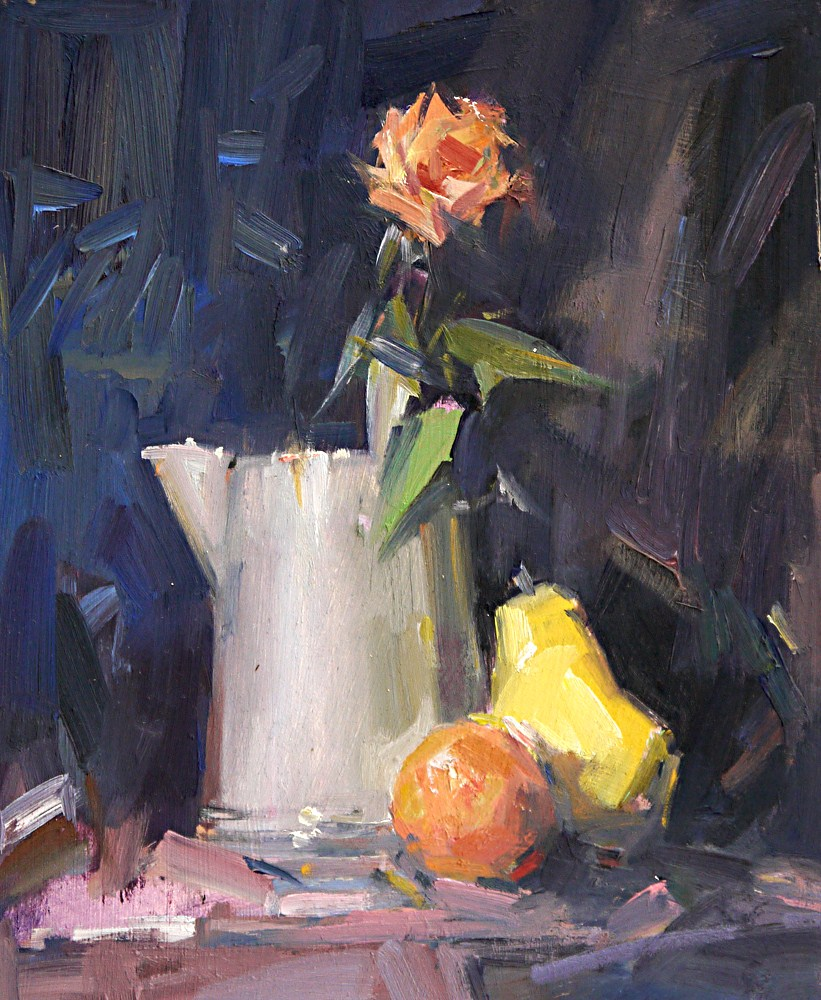 """""""Still Life with Orange"""" original fine art by Mike Peterson"""