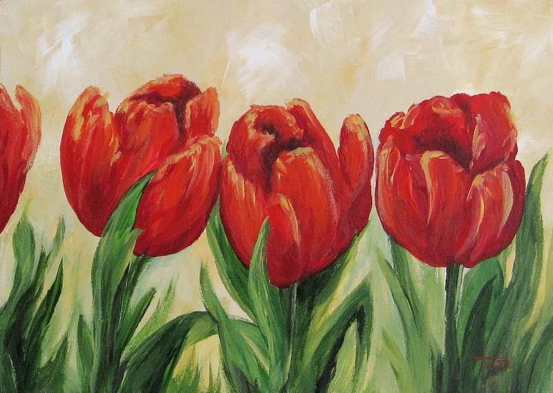 """Red Tulips"" original fine art by Torrie Smiley"