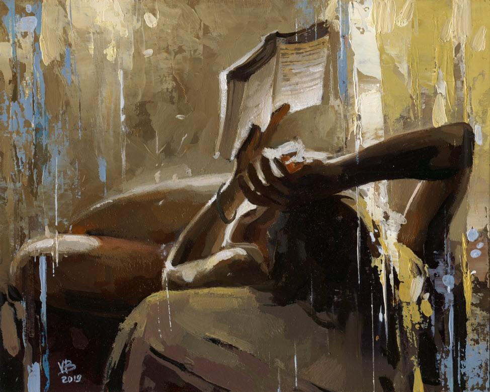 """Reading a Book -12"" original fine art by Victor Bauer"