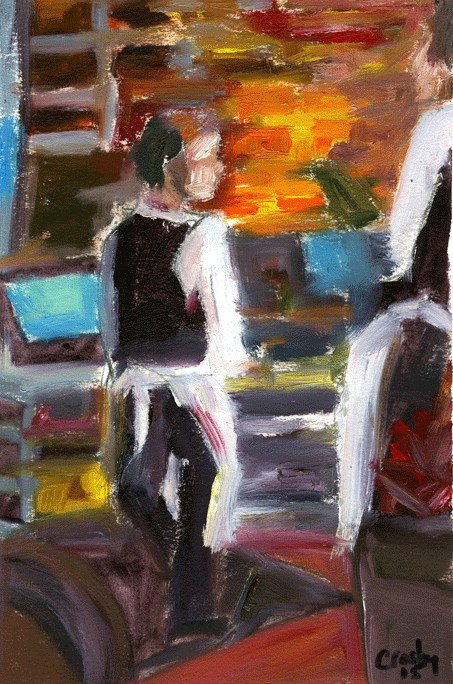 """""""At The Registers"""" original fine art by Donna Crosby"""