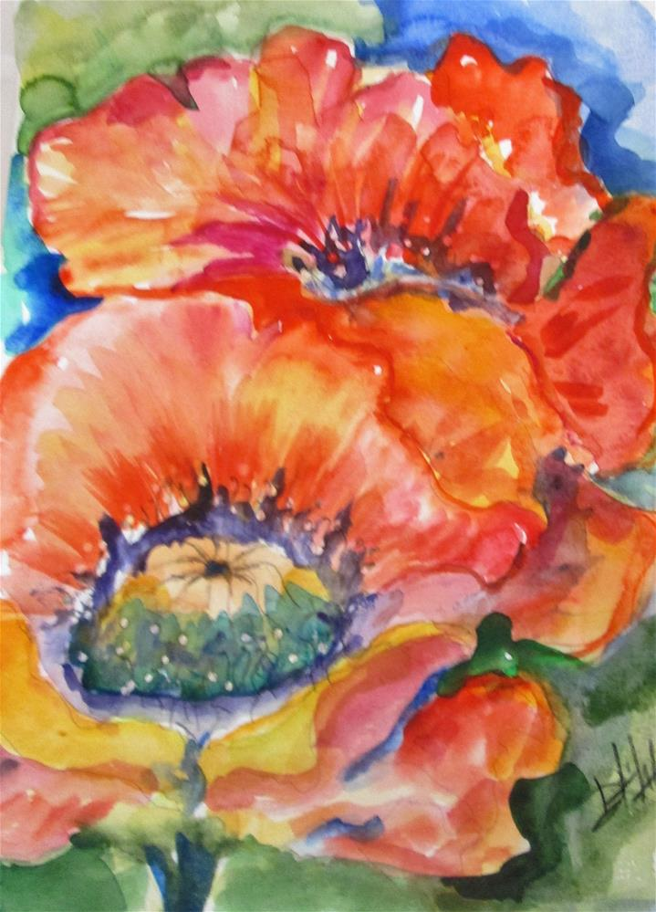 """""""Crepe Paper Poppies"""" original fine art by Delilah Smith"""