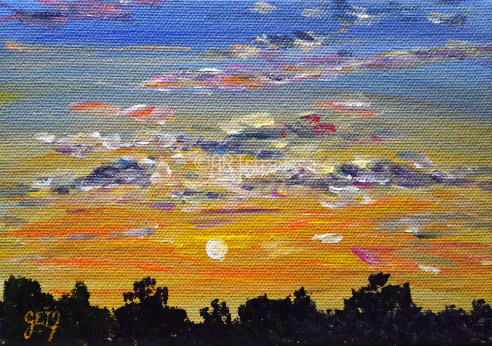 """SALE!!! Sunset Over The Trees"" original fine art by Gloria Ester"