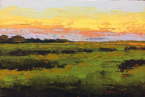 """Fall Sunset Over the Marsh"" original fine art by Mary Gilkerson"