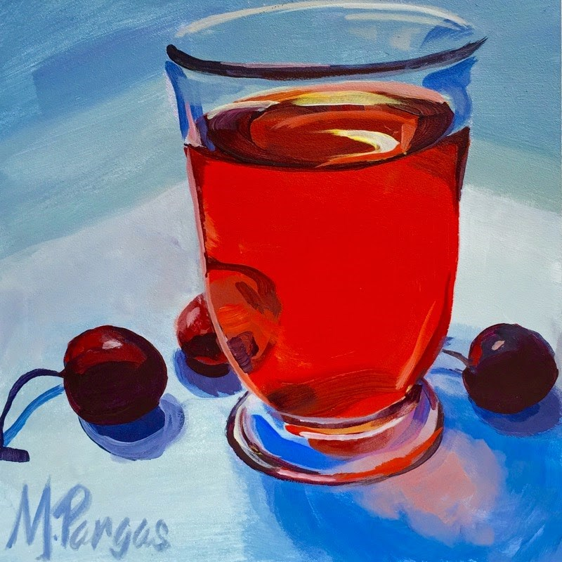 """Tea and Cherries"" original fine art by Mary Pargas"