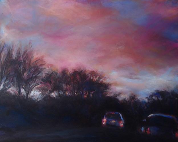 """RED EVENING - pastel sunset by Susan Roden"" original fine art by Susan Roden"