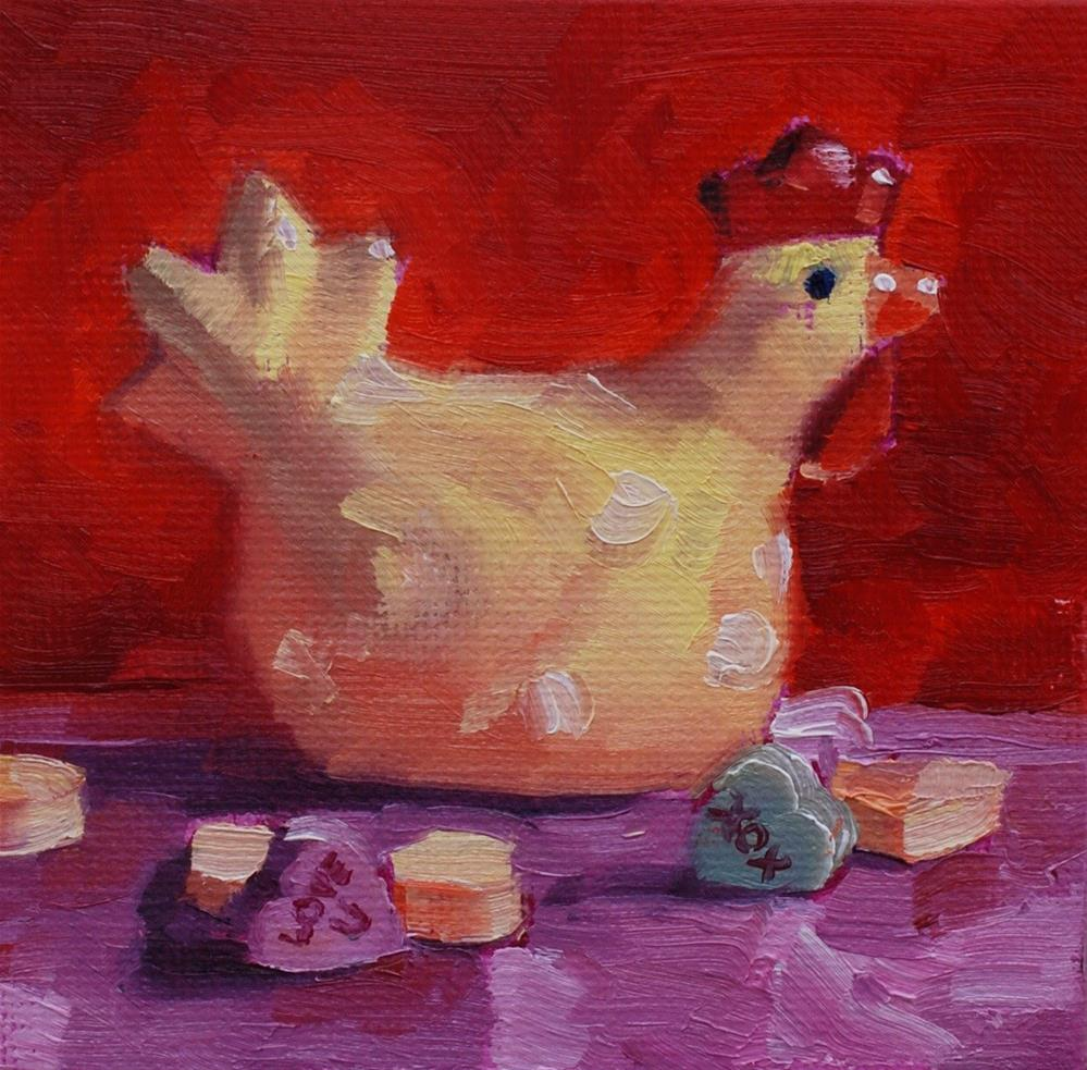 """Ms Chick in my Hearts No. 2"" original fine art by Susan McManamen"