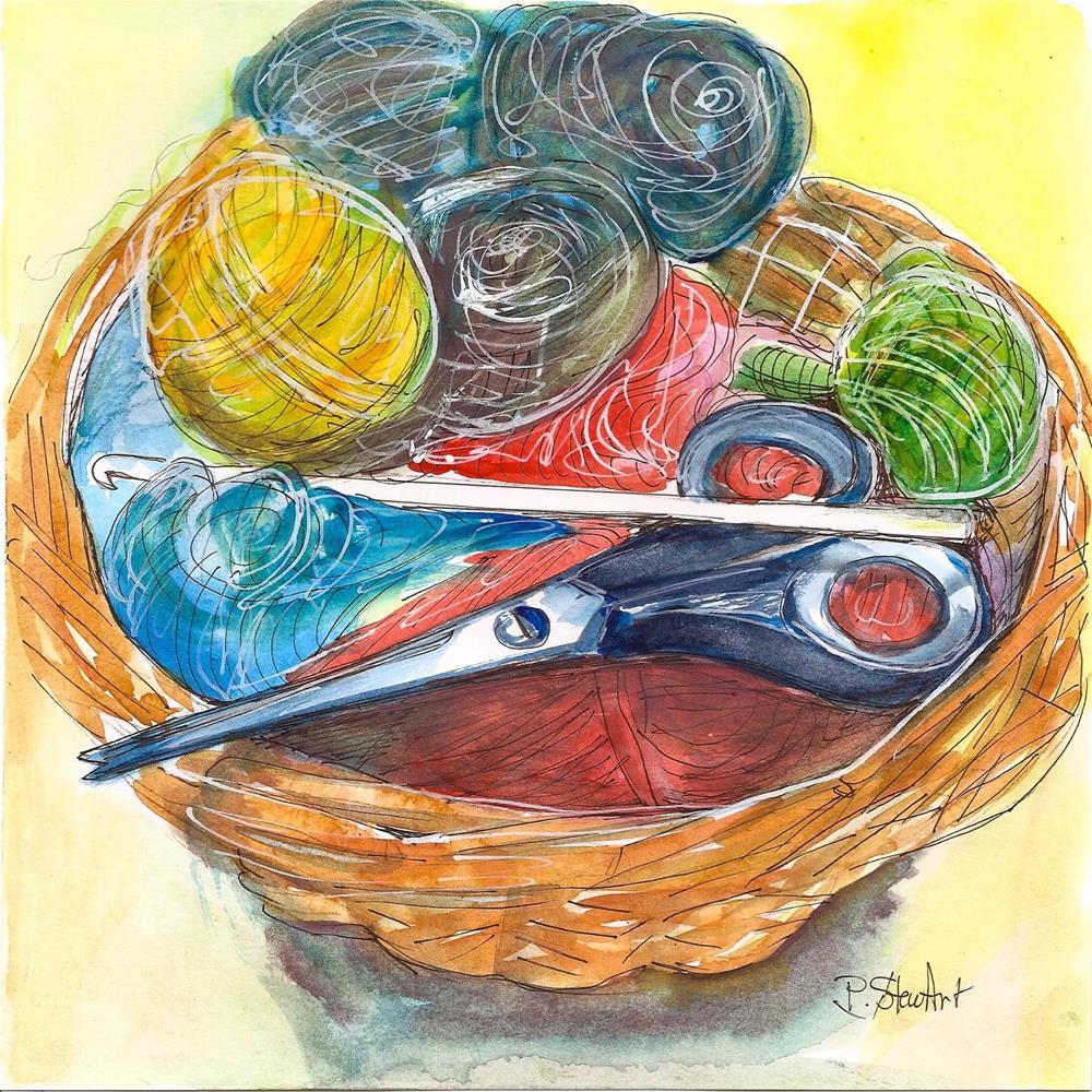 """""""8.5 x 8.5 Yarn Basket with Scissors Watercolor, Pen & Ink Illustration Penny Lee StewArt"""" original fine art by Penny Lee StewArt"""