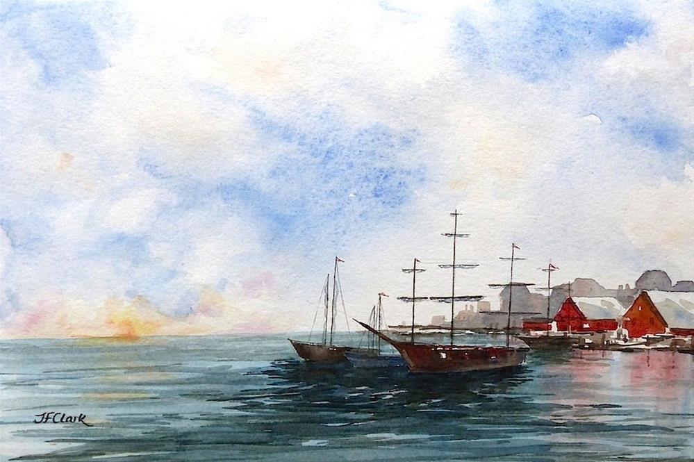"""Harbor at Sunset"" original fine art by Judith Freeman Clark"
