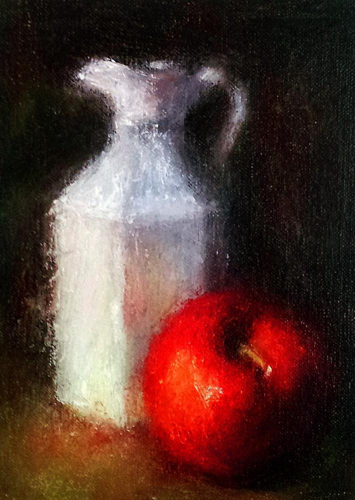"""""""Pitcher and Apple"""" original fine art by Cindy Haase"""