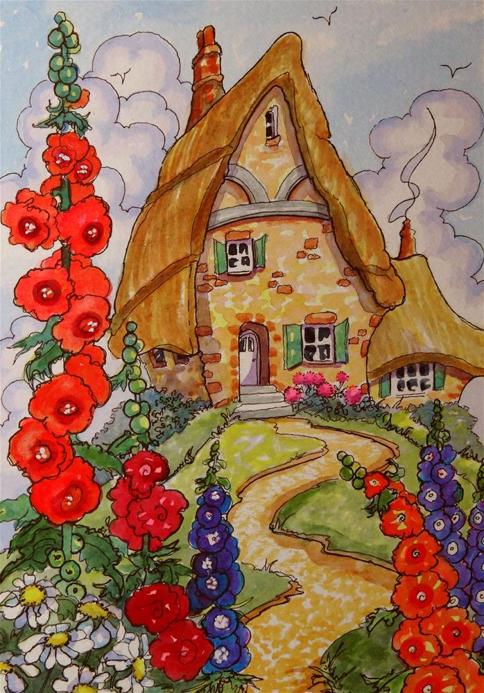 """Life on the Hill Storybook Cottage Series"" original fine art by Alida Akers"