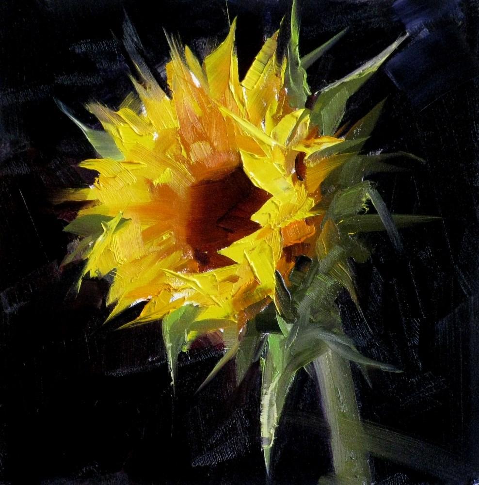 """""""Sunflower Study 5"""" original fine art by Qiang Huang"""