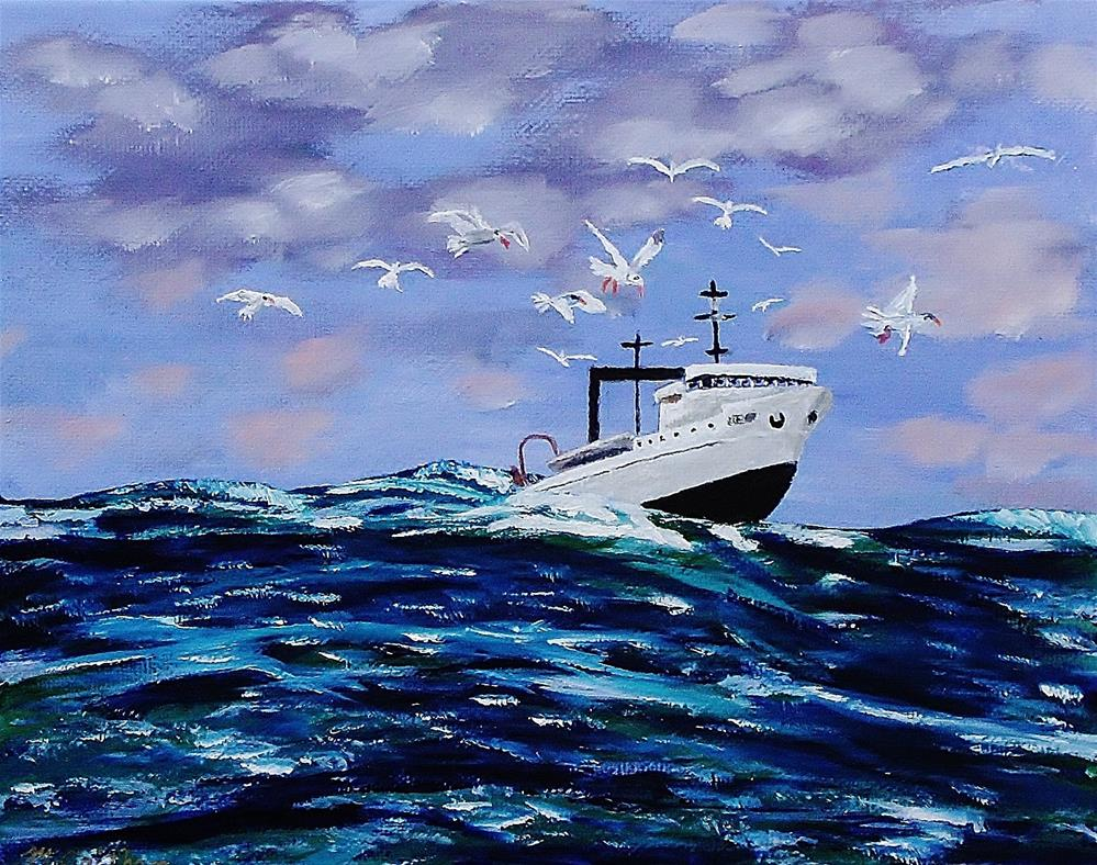 """""""Rough Waters For Fishing"""" original fine art by Mike Caitham"""