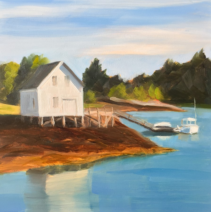"""#84 - Boathouse - Southport, ME"" original fine art by Sara Gray"