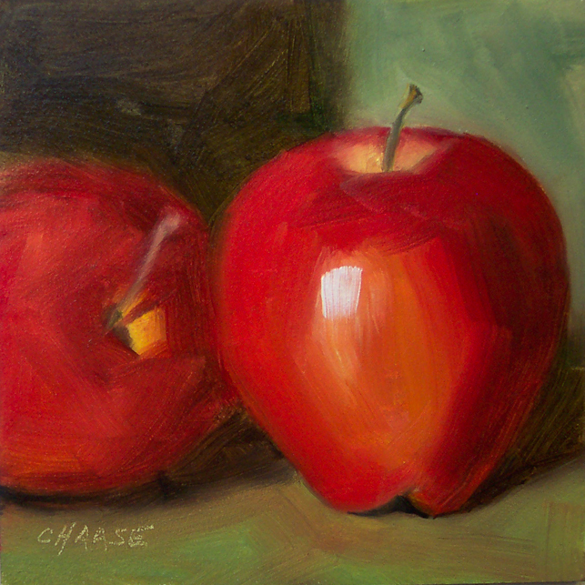 """""""Two Apples"""" original fine art by Cindy Haase"""