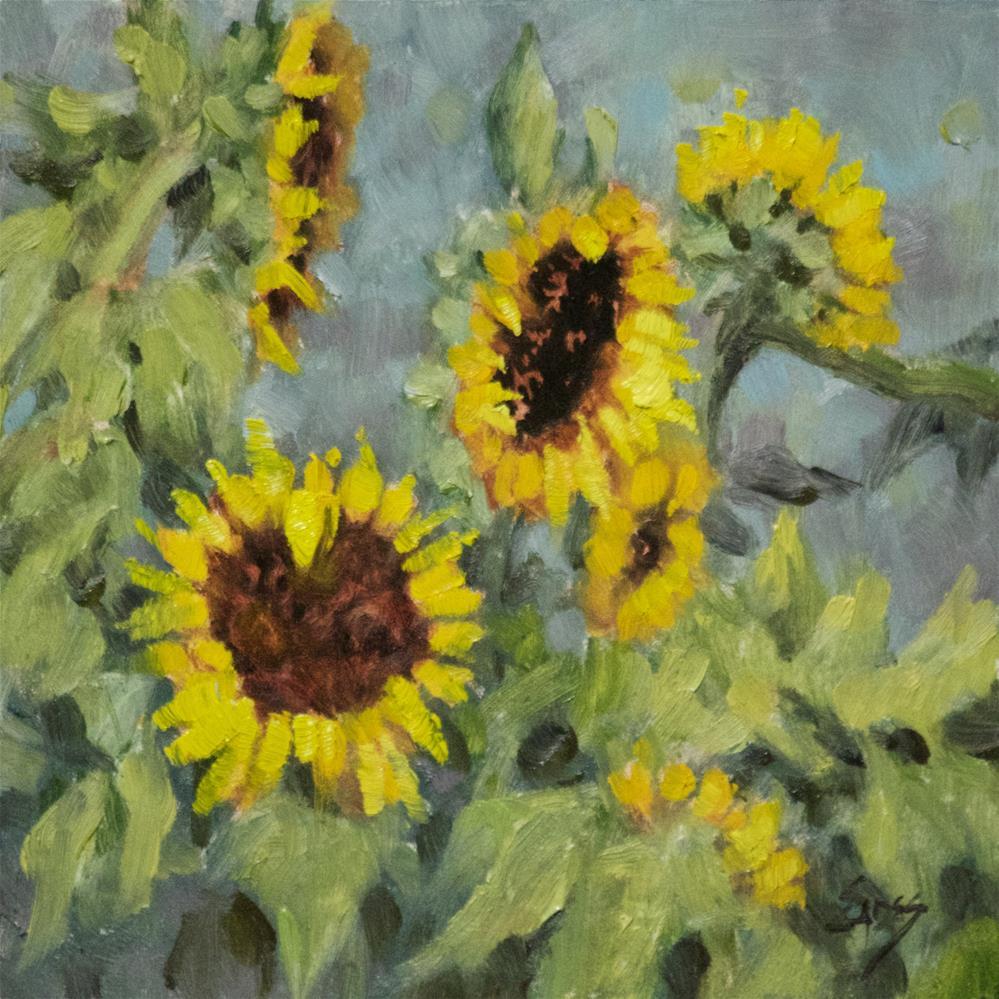 """Sunflower Sighting"" original fine art by Linda Eades Blackburn"
