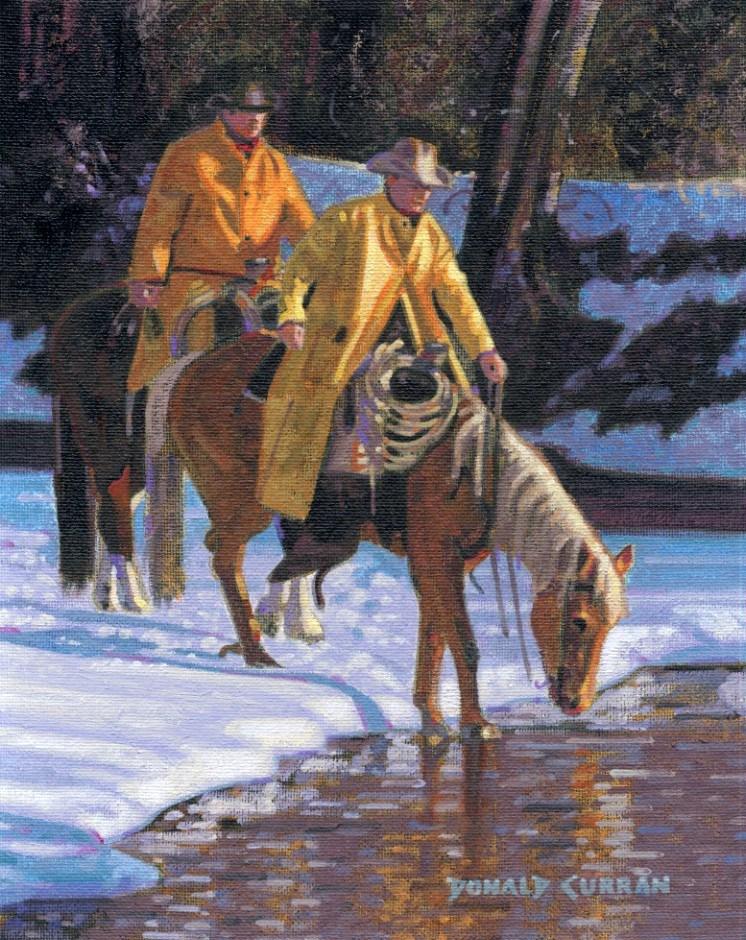 """Cowboys Winter Crossing"" original fine art by Donald Curran"