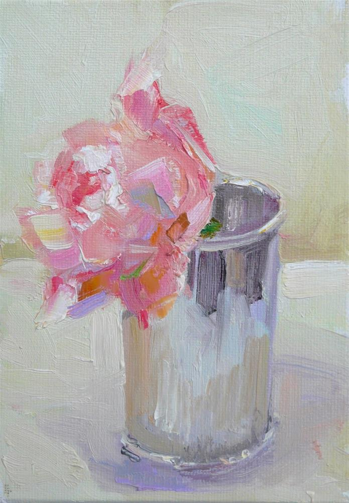 """""""Weeping Rose in Julip Cup,still life,oil on canvas,7x5,price$150"""" original fine art by Joy Olney"""