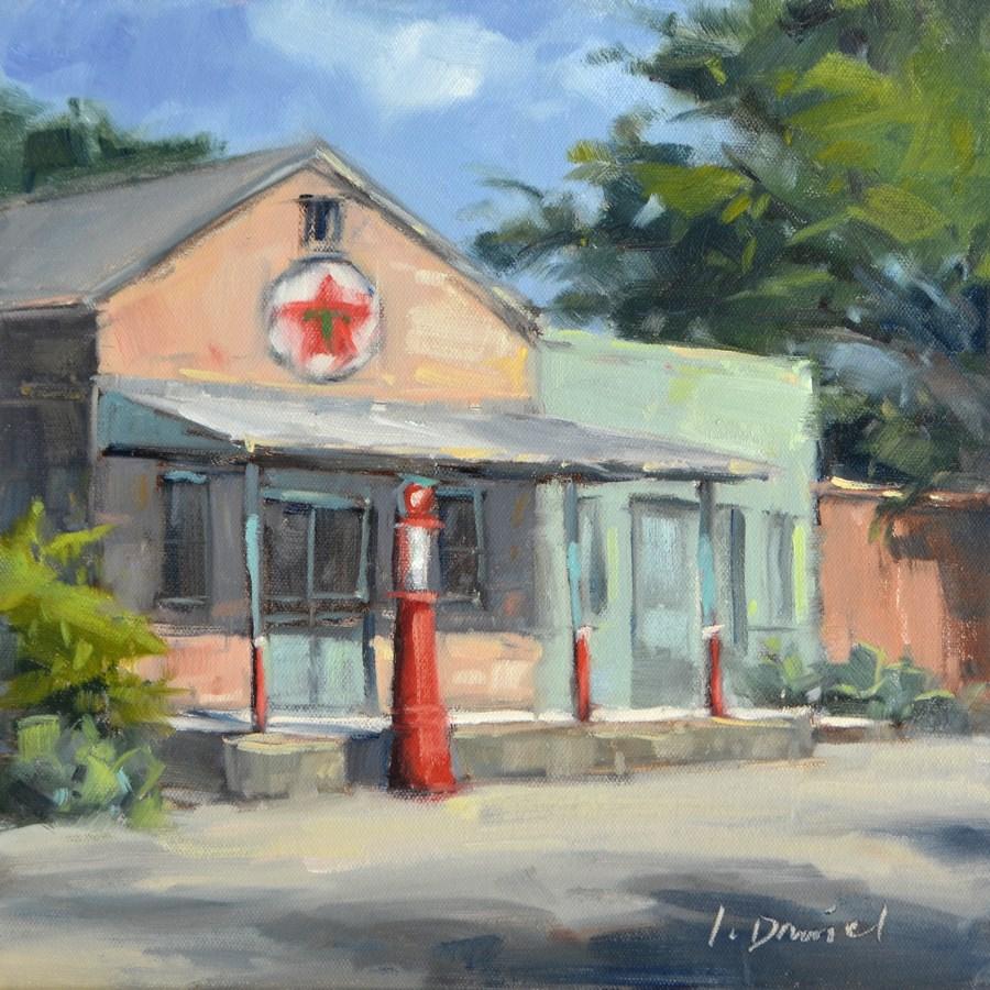 """""""Old Corner Station"""" original fine art by Laurel Daniel"""