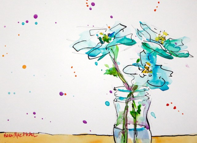 """in a galaxy far far away"" original fine art by Nora MacPhail"