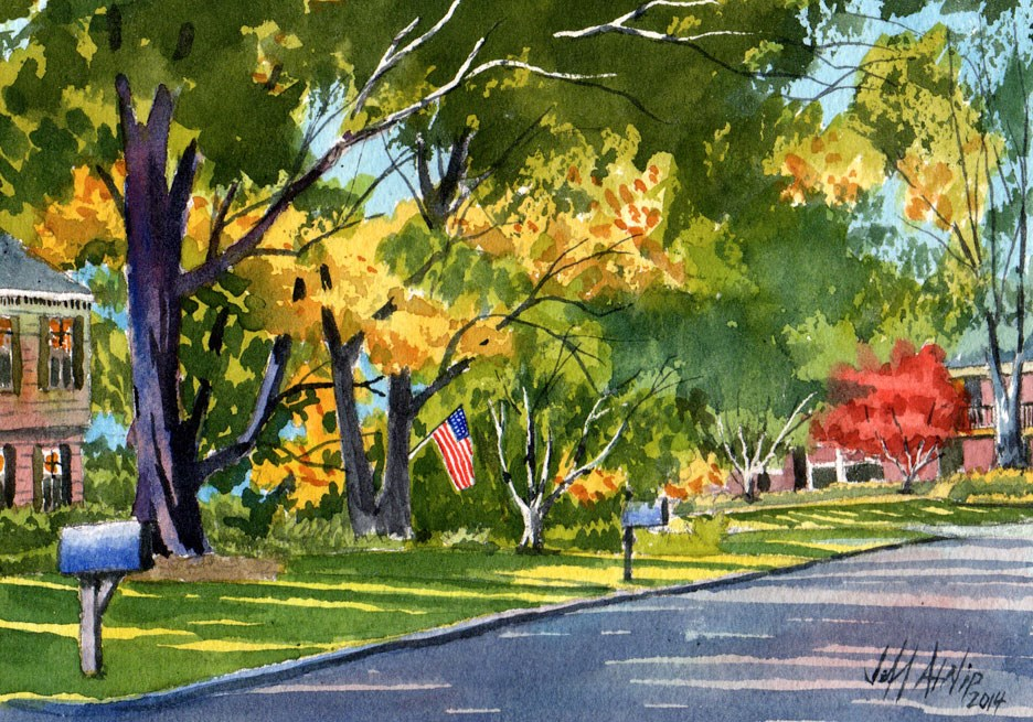 """Down Riverwood Street"" original fine art by Jeff Atnip"