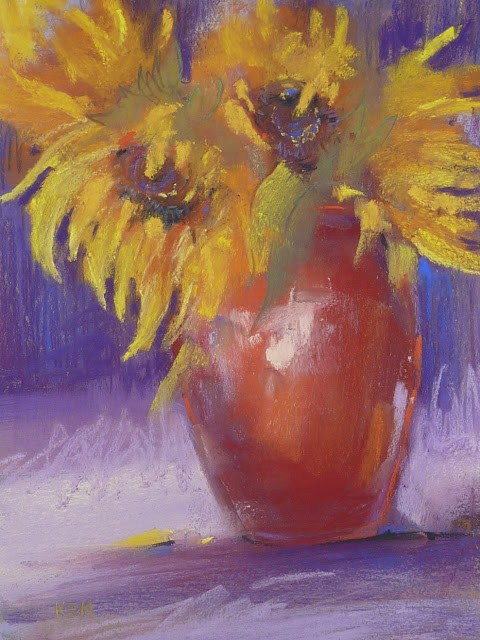 """""""How to Use a Thumbnail Effectively...Sunflowers"""" original fine art by Karen Margulis"""