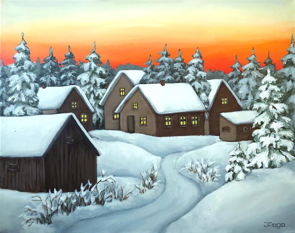 """Quiet winter night"" original fine art by Inese Poga"